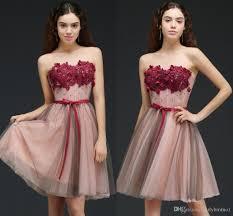 2018 new designer tulle a line burgundy flower short prom dresses