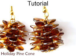 Pinecone Bathroom Accessories by Beading Tutorial Instructions Earrings Necklace Beaded Pine Cone