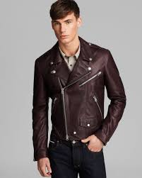 biker jacket men burberry brit wroxton leather jacket in brown for men lyst