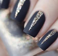 black with glitter triangle accents nail art fancy nails