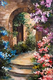 oil painting summer terrace colorful flowers in a garden
