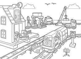 Lego Duplo Building Train Station And Rail Road Coloring Pages Rail Color Page