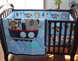 Crib Bedding Monkey Embroidery Monkey Elephant Navigation Blue Sea Whale Baby Bedding