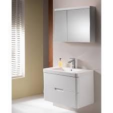 Eden Bathroom Furniture by Eden 80 Mirrored Cabinet 2 Doors Gloss White