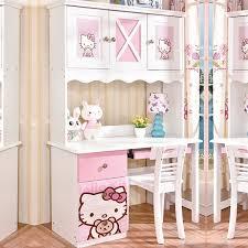 Kid Study Desk Bed Catoon Bedroom Solid Wood Bed Wardrobe Pink Study Desk In