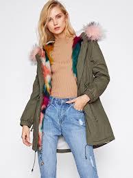 faux fur trim split back parka coat emmacloth women fast fashion