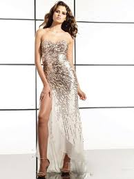 strapless sweetheart neckline sequined bodice side slit high low