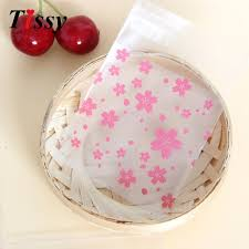 blossoms candy new 100pcs lot 3sizes pink transparent cherry blossoms candy bag