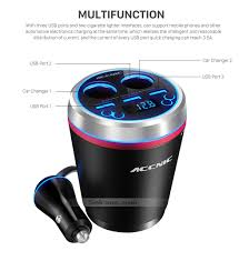 Usb Port For Car Dash Cup Holder Cylindrical Bluetooth Car Charger With Dual Cigarette