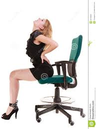 Office Chair Back Pain Business Woman Backache Back Pain Sitting On Chair Long Working
