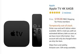 black friday amazon samsung tv 4k cold war thaws apple tv 4k listed on amazon then pulled