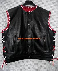 motorcycle leathers leather vest braided 2 color style mlvb750 for sale
