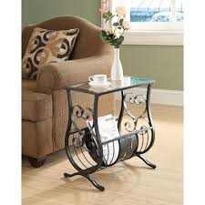 glass top end tables metal monarch specialties satin black glass top end table i 3314 the