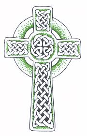 irish celtic cross tattoo in green color in 2017 real photo