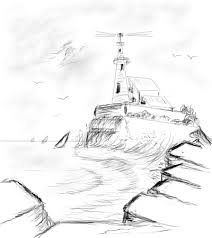 sketching to painting a lighthouse