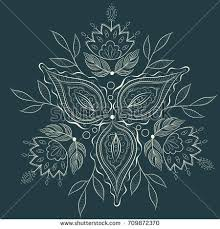 Mystic Ottoman Floral Ethnic Ornament Vector Vector Illustration Stock Vector