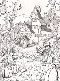drawn house colouring book pencil and in color drawn house