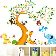 Animal Wall Decals For Nursery Jungle Animal Wall Decals Wall Decal Nursery Giraffe And Monkey On