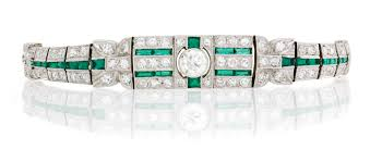 diamond emerald bracelet images Art deco diamond and simulated emerald bracelet christie 39 s art jpg