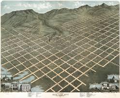 Utah County Plat Maps Birdseye View Of Salt Lake City Utah 1870