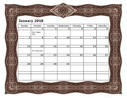 2018 monthly calendar template large boxes free printable templates
