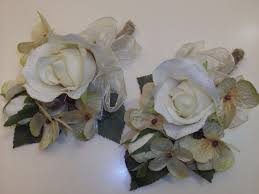 silk corsages 2 pc set rustic wedding burlap corsages silk flowers
