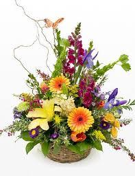 basket arrangements blooming basket arrangement de flowers
