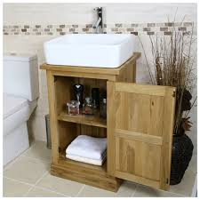 oak vanity unit solid oak cabinet with basin sink tap bathroom