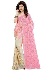madhav retail designer embroidered nazneen pink and beige double