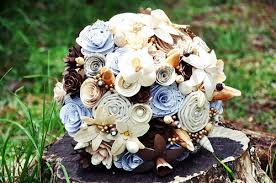 vintage theme wedding bouquet made of paper wood fabric flowers