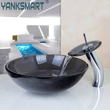 bathroom sink and faucet combo us round bathroom sink faucet vessel sink tempered glass drain combo