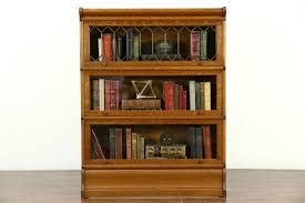 Lawyers Bookcase Sold Wernicke Signed Oak Antique 3 Stack Lawyer Bookcase Leaded