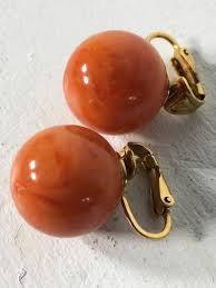 Halloween Clip On Earrings by Vintage Vogue Jlry Orange Coral Gold Tone Clipon Earrings