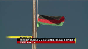 Black And Blue Flag Pan African Flag Raised At St Louis City Hall For Black History