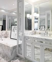 Mirror Vanities For Bathrooms by Gray Bathroom With Mirrored Vanity Contemporary Bathroom