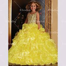 2016 kids frock designs yellow color shiny beads dresses