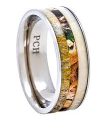 camo mens wedding bands deer antler ring with camo inlay 8mm titanium mens wedding band