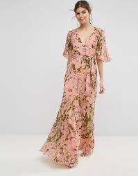 sleeve maxi dress asos asos floral pleated flutter sleeve maxi dress
