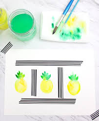 how to paint a watercolor pineapple lines across