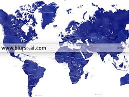 Greenland World Map by Printable Personalized World Map With Countries In True Navy Blue