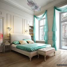 wonderful white romantic nuance bedroom design with cyan colored