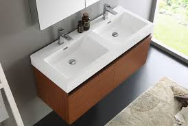 fresca mezzo 48 inch teak wall mounted double sink bathroom vanity