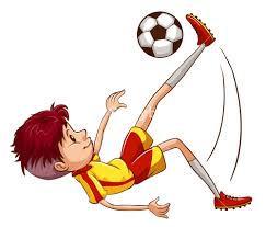 illustration of a simple coloured sketch of a soccer player on a