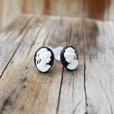 earings for sensitive ears black cameo facing pair earrings on plastic posts for sensitive