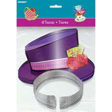 amazon com mad hatter tea party top hat tiaras 4ct plates
