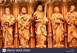 jesus disciples st peter st john statues monastery of stock