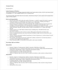 sample technical writer job description 9 examples in pdf