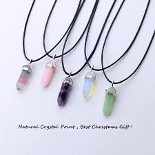 black necklace pendants images Various natural crystal pendants with black leather cord my feng jpg