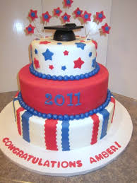 red white blue graduation cake by cakecrazyedibleart on