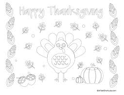 printable thanksgiving coloring page placemat for a few